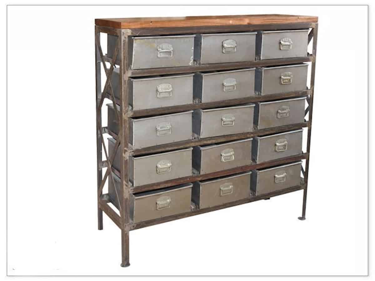 Guru 15 Drawer Industrial Chest Brown Squirrel